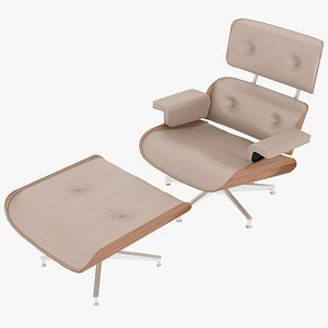 3D model eames ottoman wooden leather