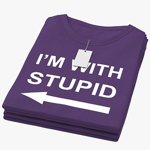 Female Crew Neck Folded Stacked With Tag Purple Im With Stupid 01 3D model
