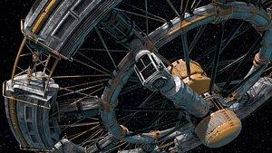 3D model spacestation vehicle spaceship