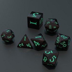 RPG dice asset Dark 3D model