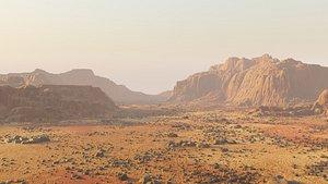 Martian surface - stony area in Blender model