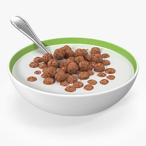 Cereal Chocolate Balls in Bowl with Milk 3D model
