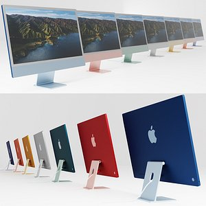 3D Apple 2021 iMac 24 inch all colors model