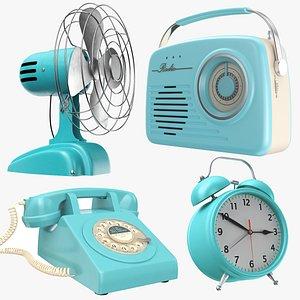 Four Vintage Blue Electronics 3D