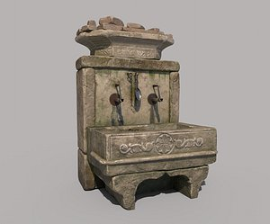 3D ancient stone fountain