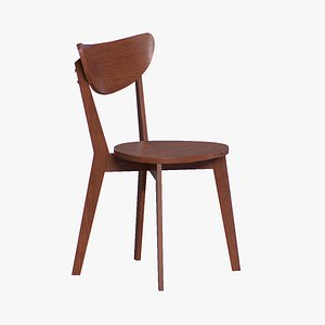 3D Bangkok Dining Chair walnut finish model