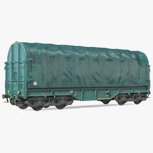 3D Tarpaulin Freight Wagon Closed Dirty