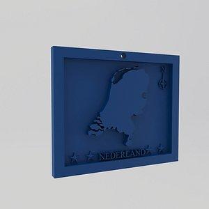 3D Netherlands-Nederland Map Print model