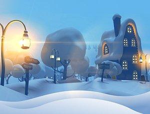 3D winter snow