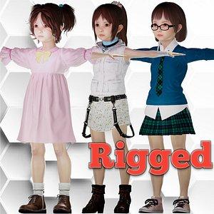 3D model Liyana Beautiful realistic Girl character Low-poly
