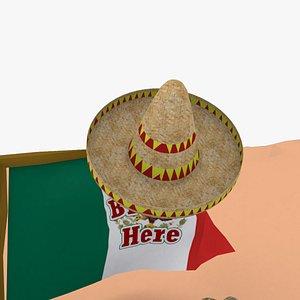 hat mexican flag 3D