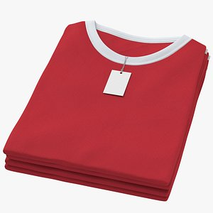 Female Crew Neck Folded Stacked With Tag White and Red 02 3D