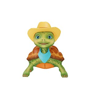 cartoon turtle cowboy 3D model