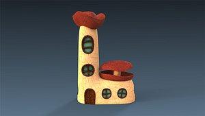 3D low-poly building