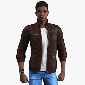 Young Man Light Skin Street Outfit Rigged for Cinema 4D 3D model