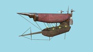 3D steampunk airship - sci-fi aircraft