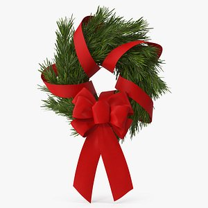 3D model Christmas Wreath with Red Bow and Ribbon 2