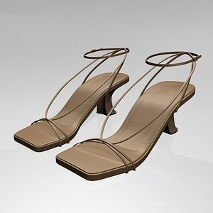 3D stylish square-toe block-heel ankle-strap