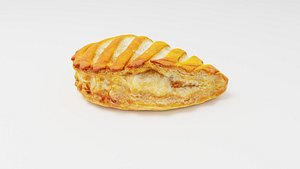 3D Patty pasty or roll with apple filling or stuffing