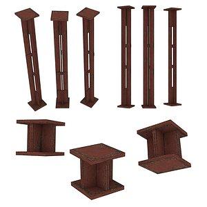 3D model 2 Models Industrial Platforms  Stairs 01 Set Column