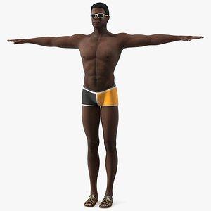 Afro American Man in Swimwear T Pose 3D model