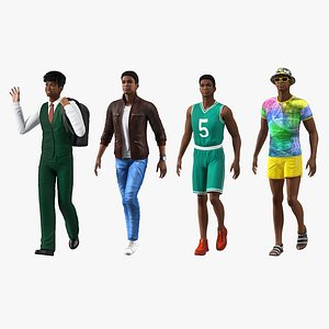 3D Light Skin Teenage Boys  Rigged Collection model