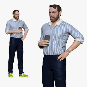 001139 serious bearded man in stripped thirt 3D model