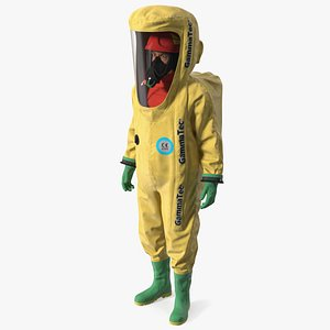 3D Heavy Duty Chemical Protective Suit Standing Pose Yellow model