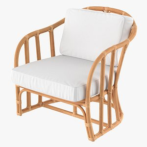 3D model Vintage Rattan Armchair with Cushions
