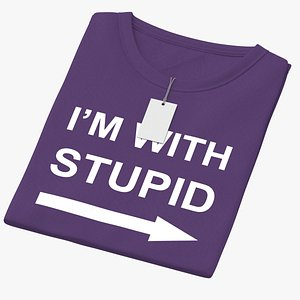 3D model Female Crew Neck Folded With Tag Purple Im With Stupid 02