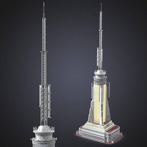 3D Empire State Building Spire Night Glow model