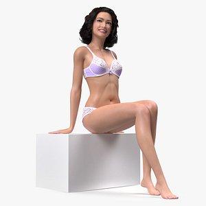 Asian Woman wearing Lingerie Sitting Pose model