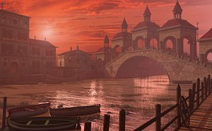 fantasy river bridge 3D model
