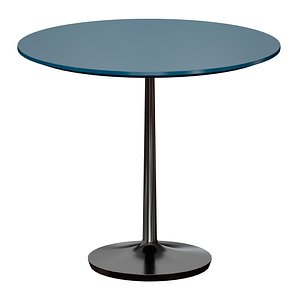 3D Nero 36 Blue Lacquer Dining Table with Matte Black Base