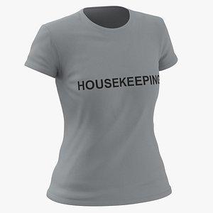 Female Crew Neck Worn Gray Housekeeping 03
