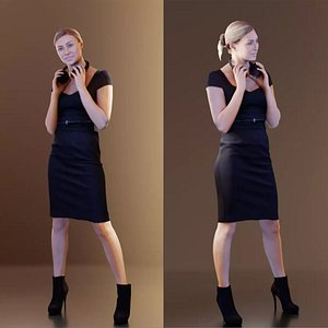 3D 10075 Ramona Woman In Dress With Headphones Around Her Neck