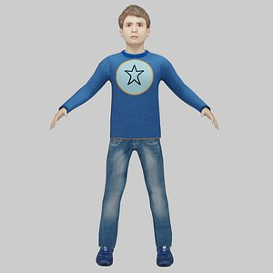 3D 10 Years Old Rigged Boy model