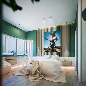 room bedroom bed 3D