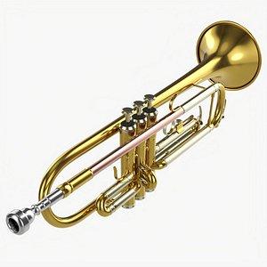 3D Brass bell trumpet model