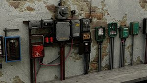 3D Utility Electric Wall Fuse Boxes Props