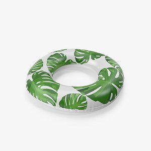 3D Pool Tube with Tropical Leaves model