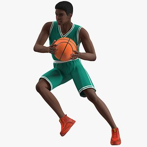 3D Dark Skin Young Man Basketball Player Rigged for Modo
