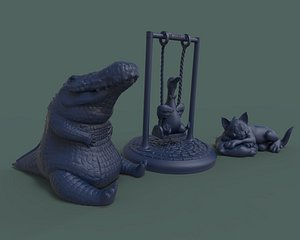 3D cute animals cat s model
