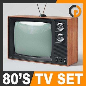 retro style 80 television set 3d model