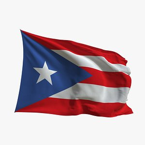 3D Realistic Animated Flag - Microtexture Rigged - Put your own texture - Def Puerto Rico
