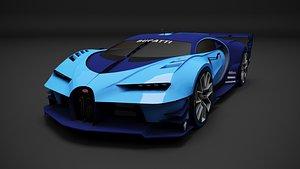 3D model Bugatti Vision GT,  game car, Low Poly