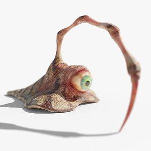 spine slug eyeball creature 3D model