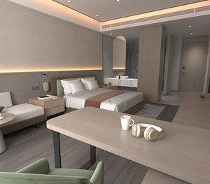 3D model Hotel Big Bed Room