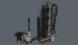 3D Landing Base Helipad and spacerocket model
