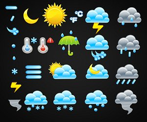 3D model Cartoon Weather Icons